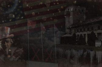 """Флаги СССР, Британии и США, Здание музея Сталина в Дбилисии и изображение """"Американского агитатора"""""""