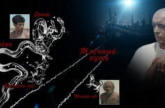 """Кадры из фильма """"Фараон"""" (Херхор, фараончик и повесившийся крестьянин), Арго, и созвездия """"Эридан"""", """"Млечный путь"""", """"Большой пёс"""", """"Малый пёс"""""""